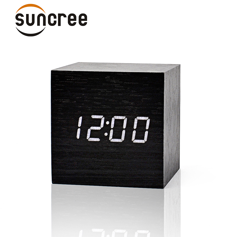 Home Decor Home & Garden Multicolor Sound Control Wooden Wood Square Led Alarm Clock Desktop Table Digital Thermometer Wood Usb/aaa Date Display