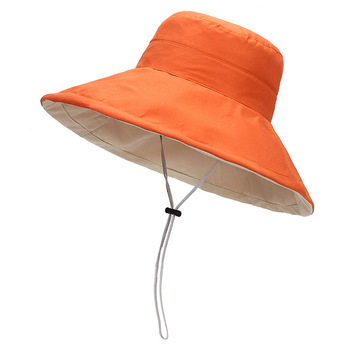 Women's Summer Reversible Folding Sun Hat with Chin cord Wide brim Packable Floppy Beach Cap Elegant Bonnet Capeline Bucket Hat