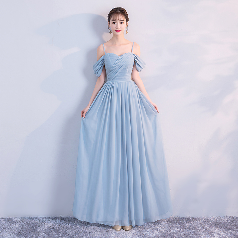 Blue Colour Wedding Party Dresses For Women  Sleeveless Bridesmaid Dress  Pleat  Chiffon Dress