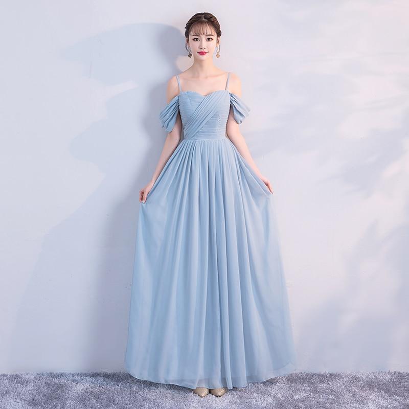 Blue Colour Wedding Party Dresses For Women  Sleeveless Bridesmaid Dress  Pleat  Chiffon Dress