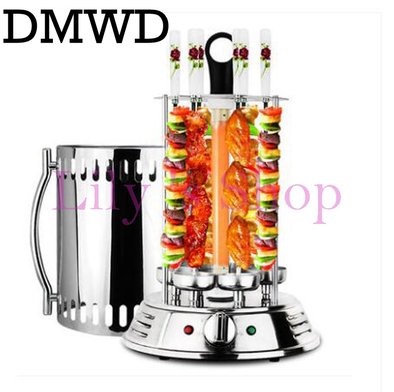 DMWD Electric oven smokeless barbecue BBQ kebab rotary machine grill automatic rotation rotisserie Roast domestic lamb skewers three groups of kebab ovens commercial electric oven machine