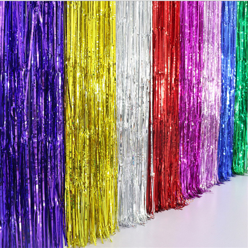 1*2Meters 7Colors Metallic Foil Fringe Tinsel Curtain Tassel Garlands Wedding Photography Backdrop Birthday Party Decoration