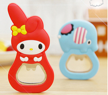 2pcs/lot Cute cartoon silicone multifunction beer bottle opener with magnetic refrigerator wine J1358