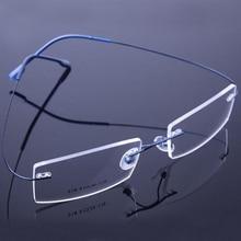 Vintage Retail 9 Colors Lightweight Rimless Glasses Frames Memory Titanium Eyegl