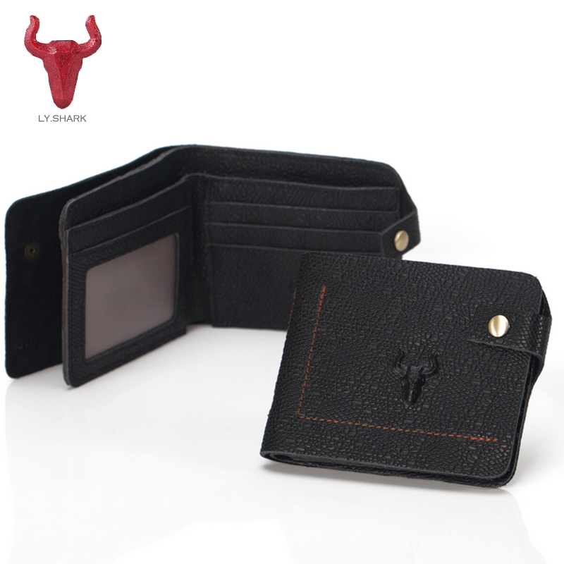 LY.SHARK Men wallet Genuine leather men wallet Clutch male card holder Coin purse money bag Small wallet