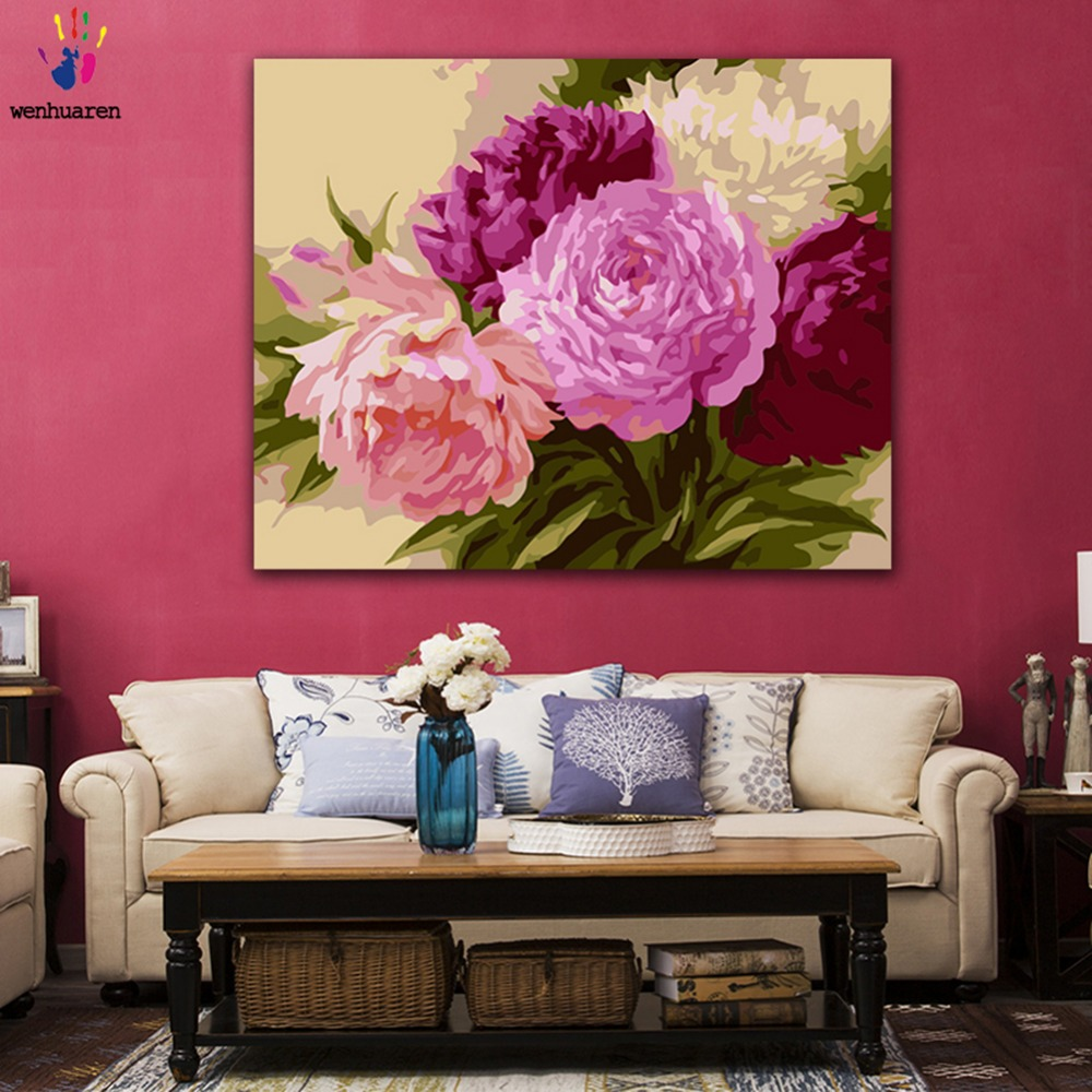 DIY Painting by numbers Magenta big flower hibiscus peony picture coloring paints by numbers with kits for wall decor