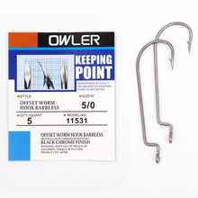 1 pack Offset Worm Hook Brabless Fishing  9 Sizes 5/0#-6# Crank Sharp Fishhook Strength hook owner