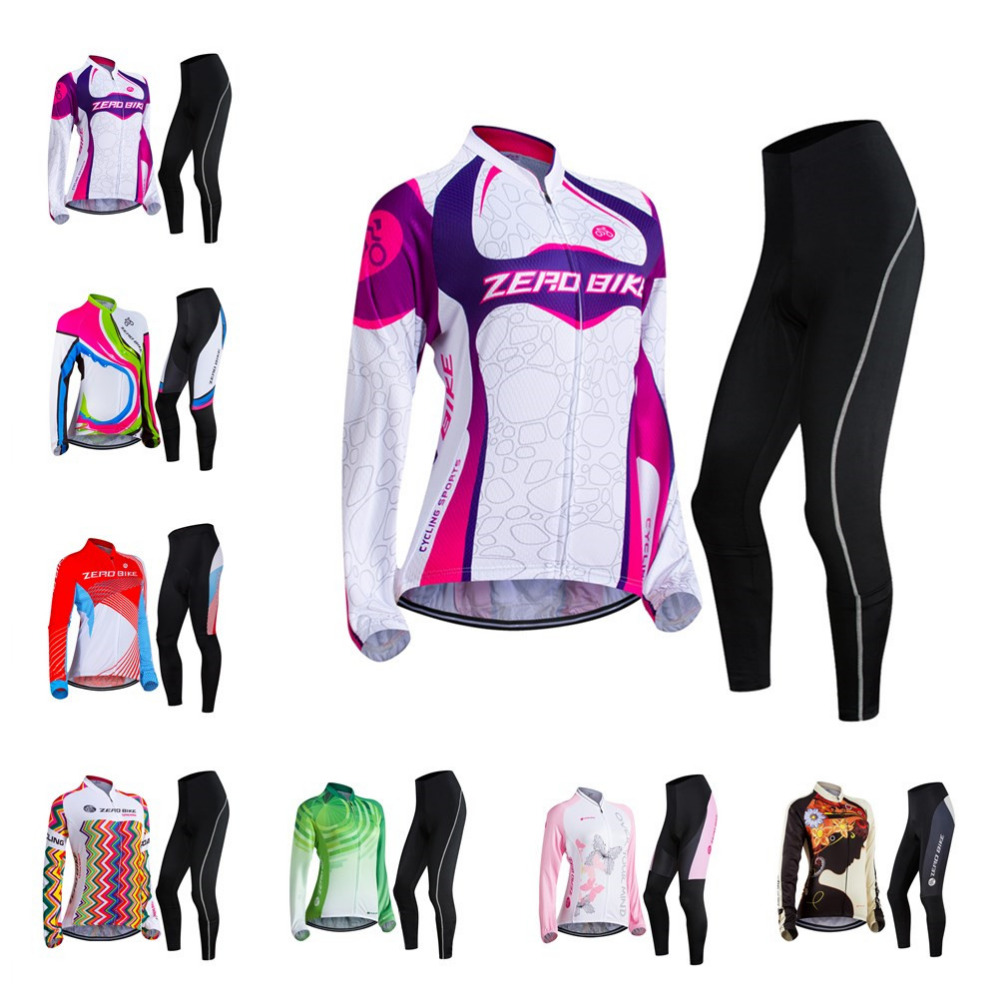 ZEROBIKE Hot Women Cycling Jersey Pants 3D Gel Padded Sports Full Zip Long Sleeve Tops MTB Bike Clothing ropa ciclismo feminino 176 hot cycling jerseys magnolia flowers hot cycling jersey 2017s anti pilling female adequate quality sleeve cycling clothing f