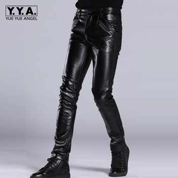 Italian Design High Quality New Brand Mens Fashion Slim Fit Pu Leather Pants Punk Male Motorcycle Pants Trousers Size 27-36 - DISCOUNT ITEM  11% OFF All Category
