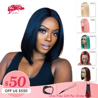 Ali Queen Hair 13X4 Short Human Hair Wigs 613/Red/Blue/Black/Purple/Pink Wig Remy Brazilian Ombre Lace Front Wig Blonde Bob Wigs