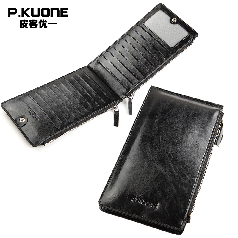 P KUONE Brand Genuine Leather Men Long Credit Card Holder Vintage Oil Wax Leather Zipper Clutch