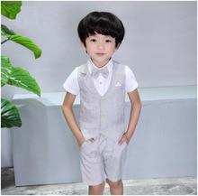 Vest Shirt + Short+Tie Boys Summer  Party Wear Formal Suits