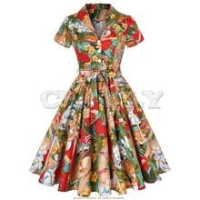 CUERLY 50s 60s Retro Vintage Dress Short Sleeve Car and Beauty Pattern Floral Print Elegant Women Plus Size Autumn Dress SD0002 plus size short sleeve floral pattern swimwear for women