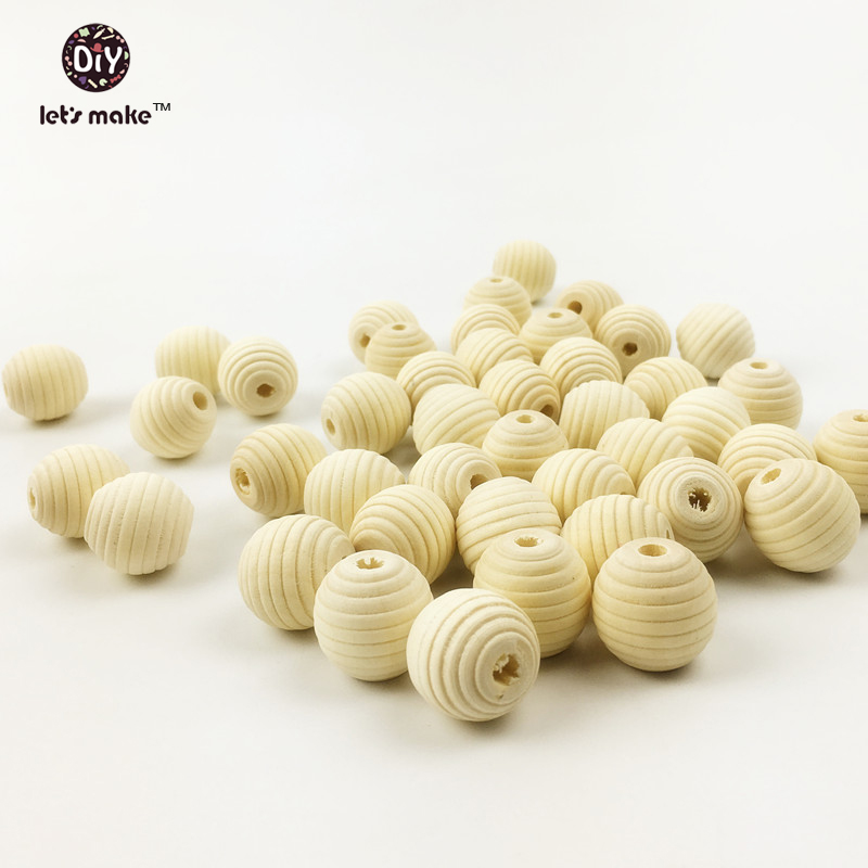 Let's Make Baby Teether 100Pcs 18mm Round Spiral Wood Bead No Varnish Nature Wood Beads Made By Chinese Cherry Tree Baby Teether