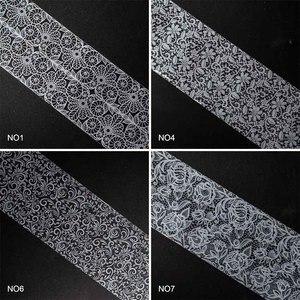 Image 5 - Dantel tırnak folyo tırnak sanat çiçek transferi folyo kağıt tırnak çıkartmalar beyaz dantel çivi malzemeleri ZJT072