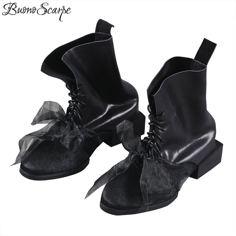 BuonoScarpe Retro Real Cow Leather Lace Up Short Boots Handmade Chunky Heel Ankle Boots Riband Tied
