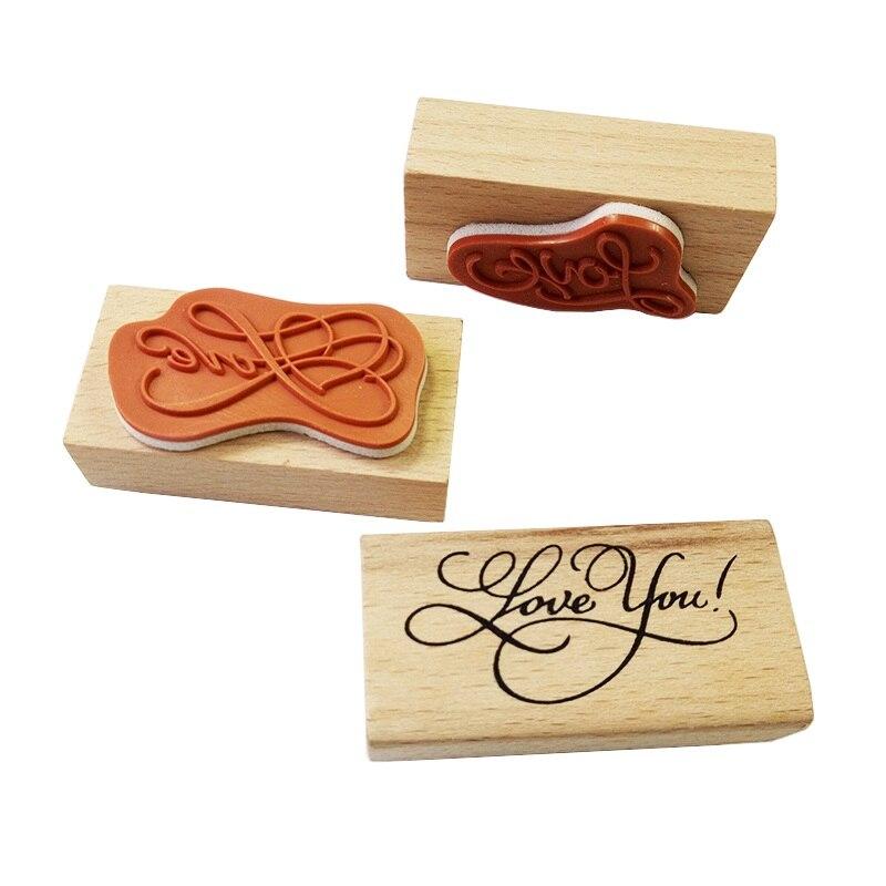 24 pcs lote novas artes fonte amor te amo selo de madeira feitos a mao