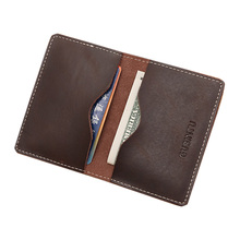 2016 Genuine Leather Credit Card Wallet Cow Leather ID Card Pack Bank Card Holder Business Small Purse Brand Color Brown