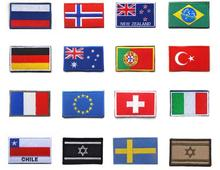 Countries Flag patches Israel Russia Germany Brazil Norway France EU Portugal Turkey Italy Chile Australia UK Badges for Clothes