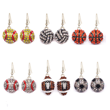 Wholesale 6 Pair Lot Pave Crystal Baseball Softball Team Sports Drop Earrings Football Jewelry Rugby American