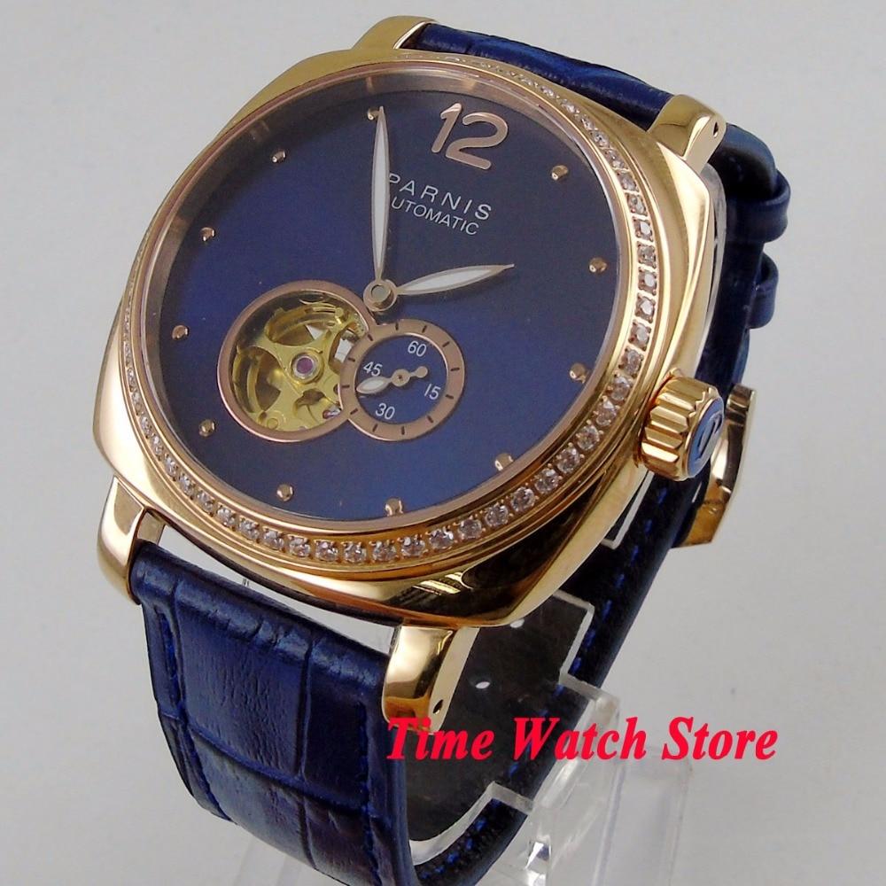 Caja dorada de 39mm, reloj Parnis para hombre, esfera azul real, cristal de zafiro, segundo pequeño, movimiento de MIYOTA de 5ATM para mujer ver 1196-in Relojes mecánicos from Relojes de pulsera    1