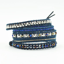 Charm Vintage Cowhide Handmade Woven Leather Bracelet Lapis Lazuli And Crystal Bracelet For Women&Men Jewelry Gifts Wholesale 14k gold charm bracelets for women pink crystal and lapis lazuli beads bracelet bohemia vintage original fine jewelry