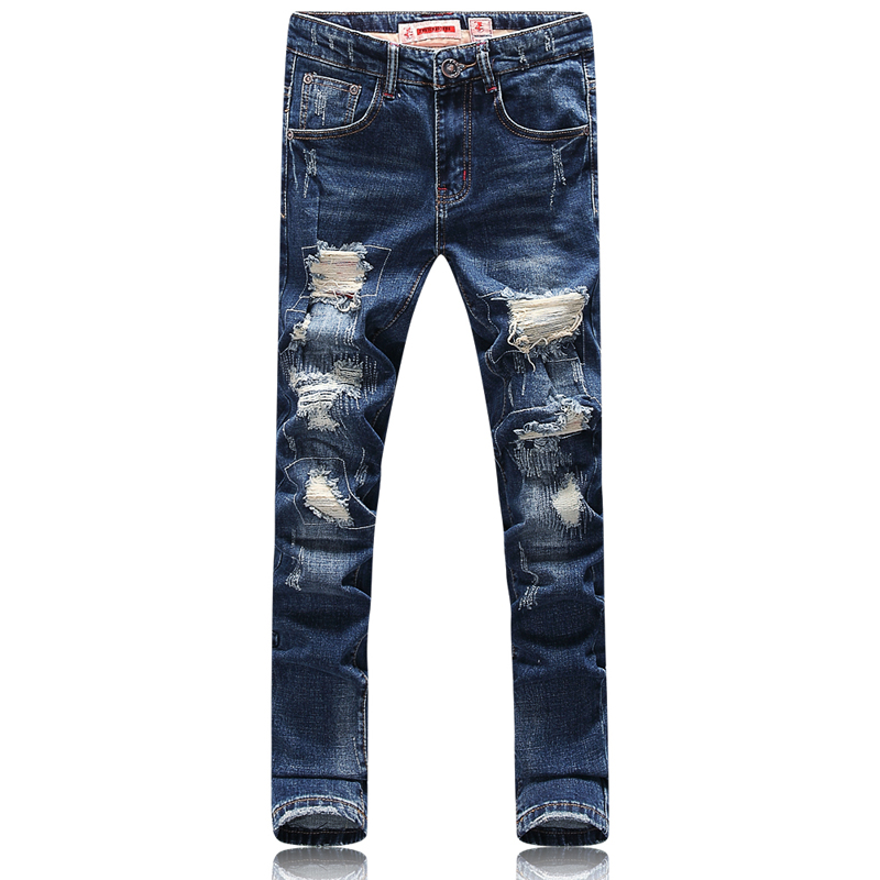 2017 spring new style Men's Leisure fashion printing broken hole decorate jeans Men high quality blue stitching straight jeans