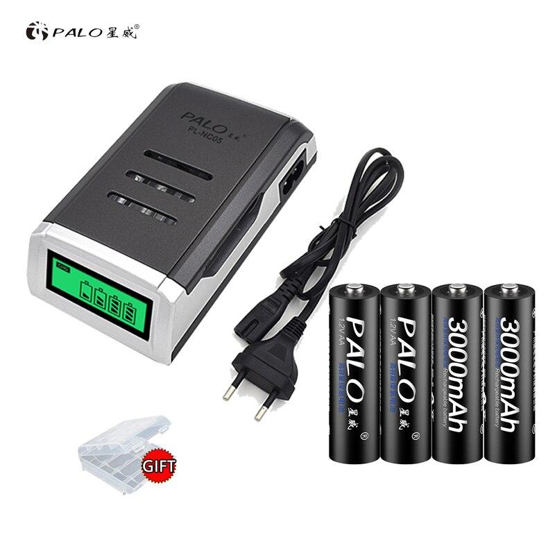 C905W inteligente pantalla LCD PALO de batería cargador para AA/AAA NiCd NiMh recargable baterías + 4 piezas AA 3000 mAh baterías