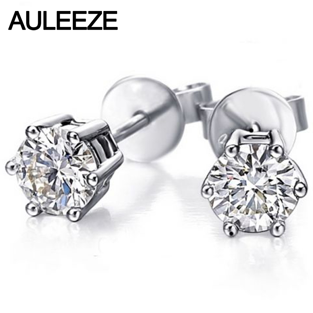 6 Prong Round Brilliant 1CT Simulated Diamond Stud Earrings for Women 9k White Gold Earring Wedding Jewelry