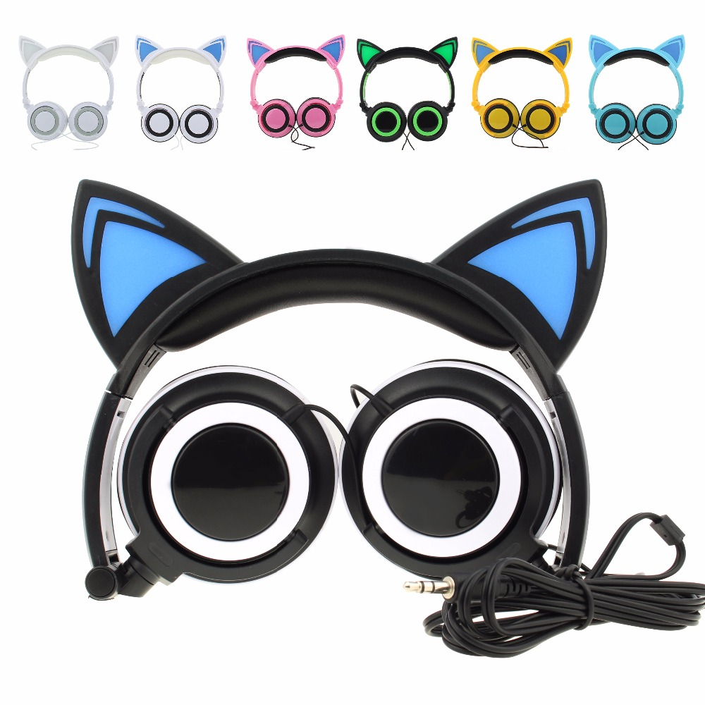 Foldable Flashing Glowing Cat Ear Headphones Wired Video Gaming Headset Hifi Stereo Mp3 Music Player Walkman Earphone aiyima headphones gaming headset 3 5mm foldable sport earphone audifonos hifi stereo sound music portable earphone