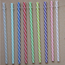 BPA Free 6 Piece 23cm Reusable Thick Plastic Stripe Drinking Straw Various Colors Free Shipping