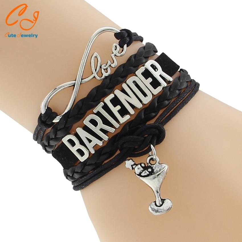 New Infinity Love 8 Bracelets Bartender Bracelet Wine Glass Charm Rope Braid Leather Fashion Jewelry Best Gifts For Bartenders
