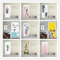 3D Creative European Door Stickers For Wooden Door Renovation Home Decor Decels Self-adhesive Wallpapers Waterproof Vinyl Murals