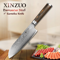XINZUO 7 inch Santoku Knife Damascus Steel Kitchen Chef Knives Very Sharp Japanese VG10 Steel Cooking Knife Pakka Wood Handle