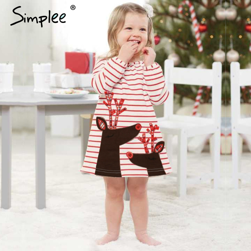 5e14badb6df04 US $9.99 40% OFF|Baby girls Christmas dresses for girls dress Deer stripes  elk long sleeves dress Birthday Christmas Santa Claus costumes-in Matching  ...