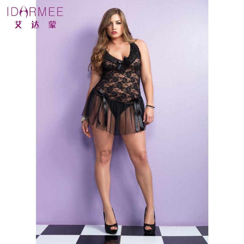 IDARMEE Free Shipping Women Sexy Underwear Erotic Lingerie Transparent Porno Plus Size Lingerie Sleepwear Nightgowns S6189