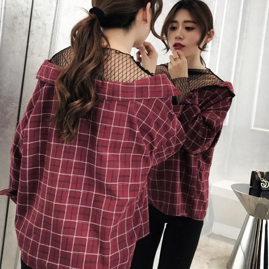 Moda Mujer Blusa 2 Femenina Señoras Manga 1 Red Harajuku Vintage Las 3 Camisa Mujeres Larga De 2019 Madres Hombro Ff6q7wg
