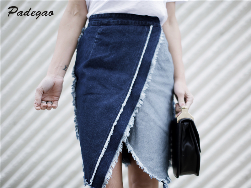 PADEGAO Burr Trim Slit Pencil Skirt 2017 Summer Elegant Slim Mosaic Denim Women Clothing Celebrity Fashion