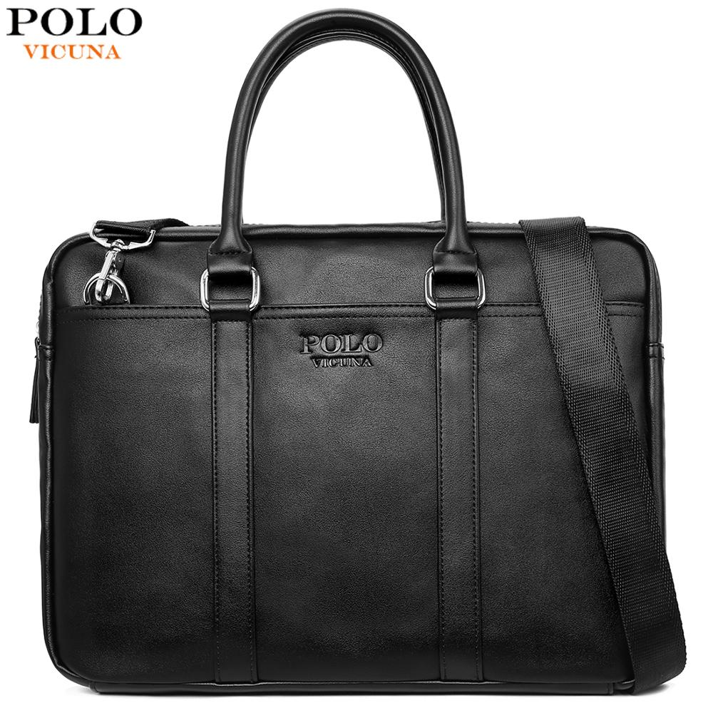 VICUNA POLO Fashion Soft Leather Mens Shoulder Bag Large Capacity Laptop Briefcase Bag For Male Cross Body Sling Handbag