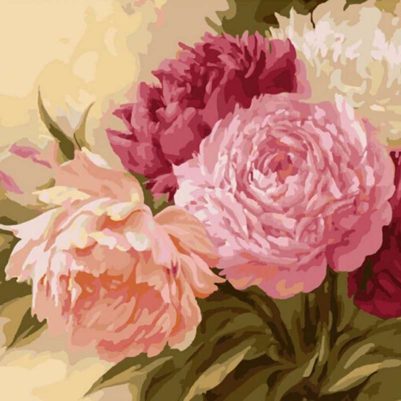 40*50CM Flowers Oil Painting By Numbers Wall Pictures Coloring DIY Peony Canvas Painting Wall Art Home Decor button