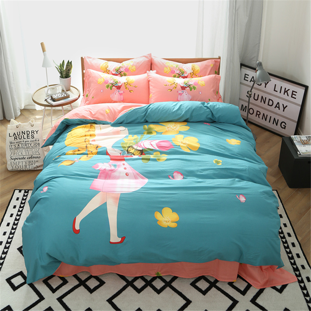 japanese and korean style cartoon design girls bedding sets 34pc include1pcs duvet cover