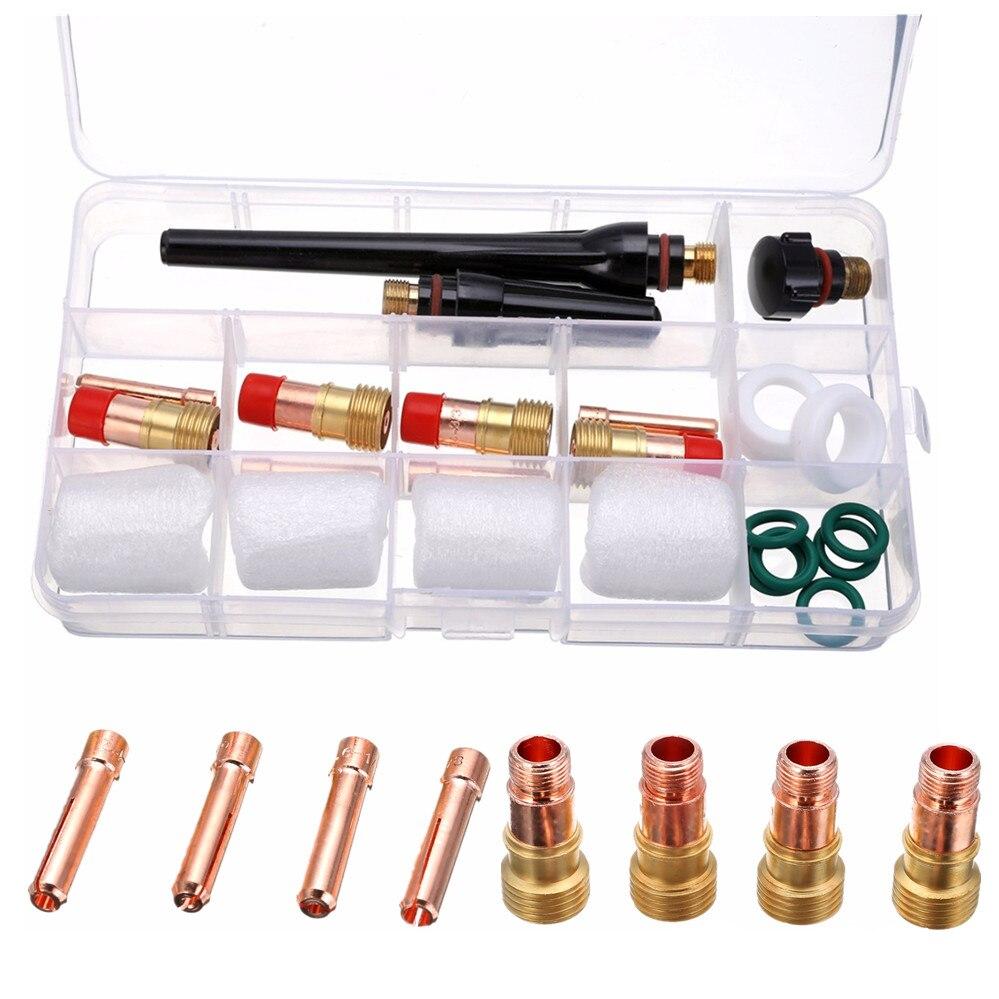 23 stücke Professionelle Wig-schweißbrenner Gas Objektiv Kit mit 4 stücke #10 Pyrex Tasse Für Tig WP-17/18/26 Taschenlampe