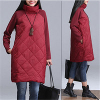 2018 New Fashion Autumn Winter Women Dres Korean loose large size women quilted thick high collar long sleeved dress stitching