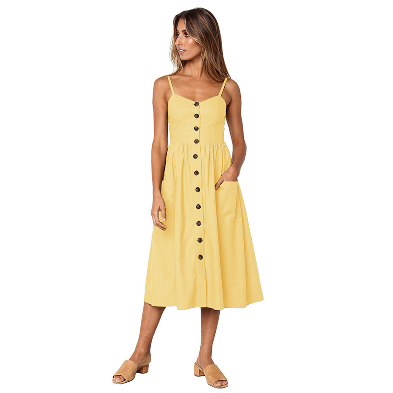 Striped Button Sexy Casual Summer Strap Dress Long Boho Beach Pockets Women Sundress Vestidos Elegant Daily Dess Female Dress ~~