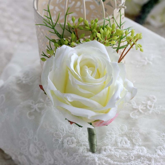 1 pcs handmade prom boutonniere pin white rose aritificial flowers 1 pcs handmade prom boutonniere pin white rose aritificial flowers groom groomsman guest brooch corsage flower mightylinksfo