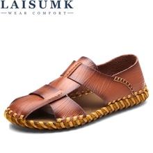 LAISUMK Mens Breathable Sandals Genuine Leather Men Outdoor Casual Beach Shoes Sneakers Hombre Sandalias