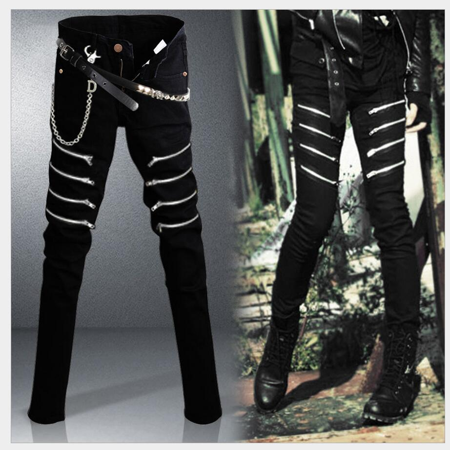27-34 Korean Spring 2016 New fashion men jeans black feet pants zipper pencil pants Slim trousers tide nightclub singer costumes