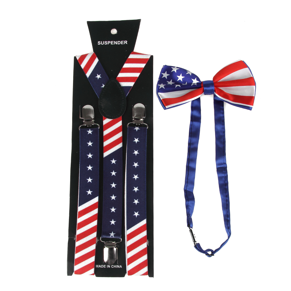 HUOBAO New Fashion Unisex Navy Red Star American Flag Bowties And Suspenders Sets For Mens Womens