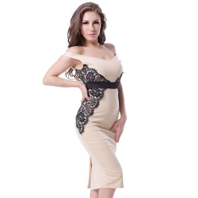 9c865317b3862 Mode style décolleté sans manches travail robe beige avec dentelle plus la  taille robes pari vente