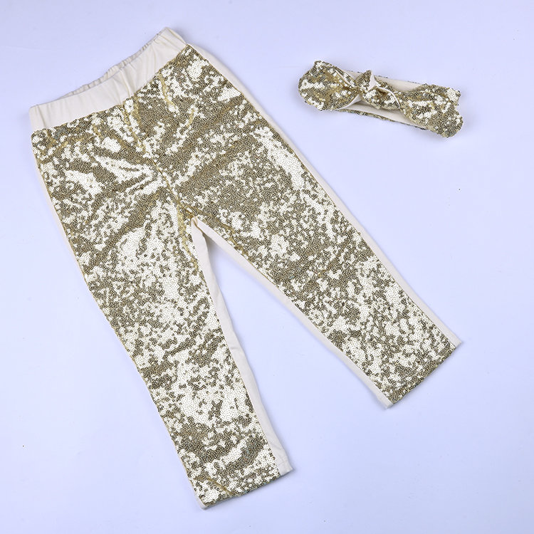 DHL EMS Free shipping Kids Toddlers Children 2pc Suit Sequined Shimmer Sparkle Pants Headband Sequin Children Clothing ct4670 used disassemble dhl ems free shipping